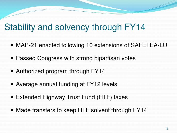 Stability and solvency through fy14
