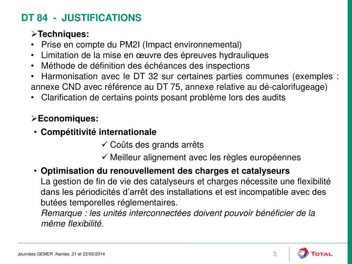 Dt 84 justifications