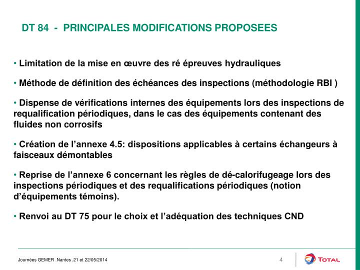 DT 84  -  PRINCIPALES MODIFICATIONS PROPOSEES