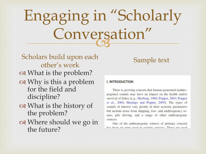 "Engaging in ""Scholarly Conversation"""