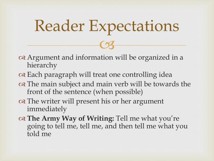 Reader Expectations