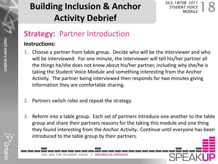 Building Inclusion & Anchor Activity Debrief