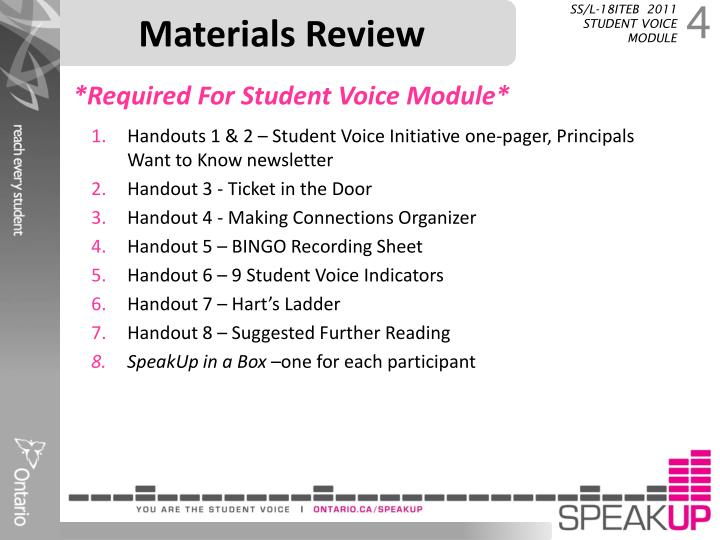 Materials Review