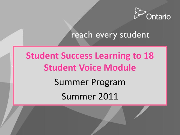 Student Success Learning to 18