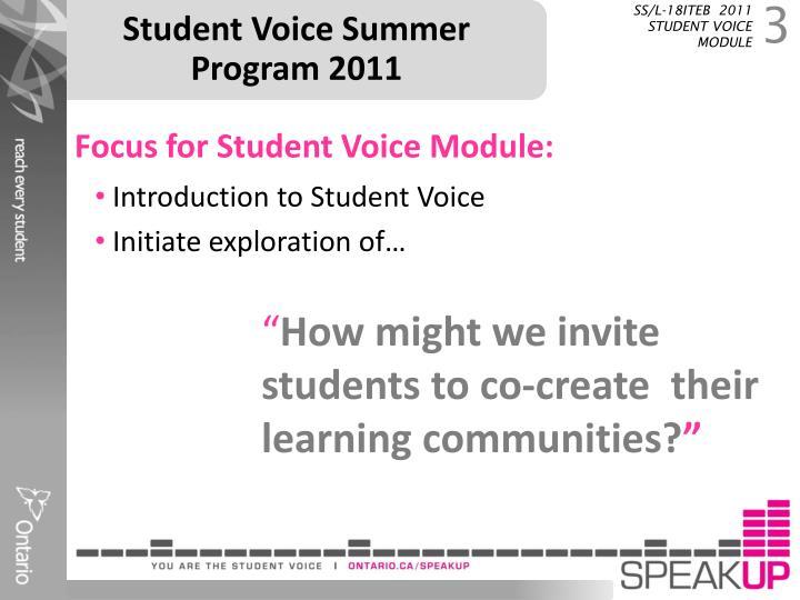 Student Voice Summer Program 2011