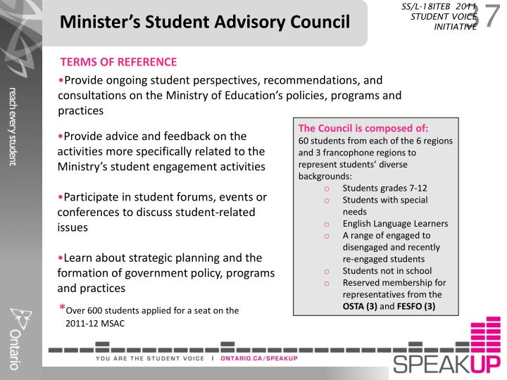 Minister's Student Advisory Council
