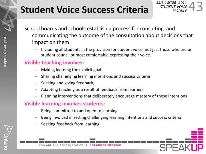 Student Voice Success Criteria