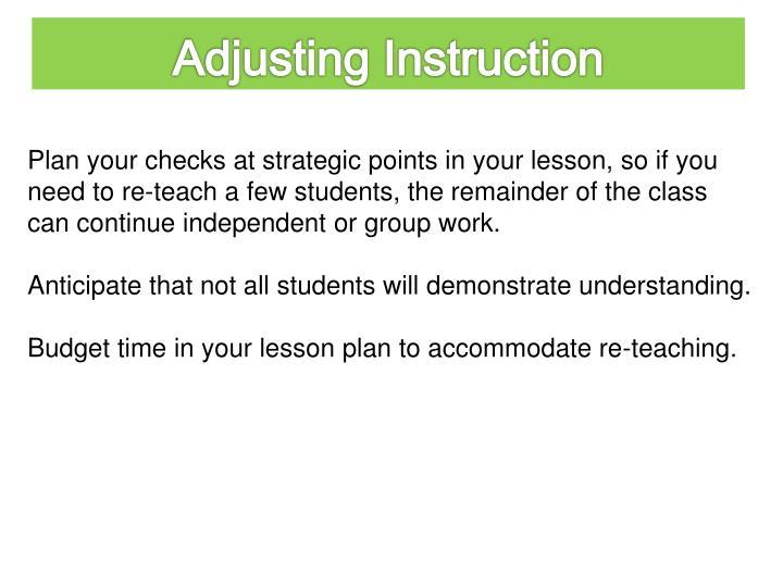 Adjusting Instruction