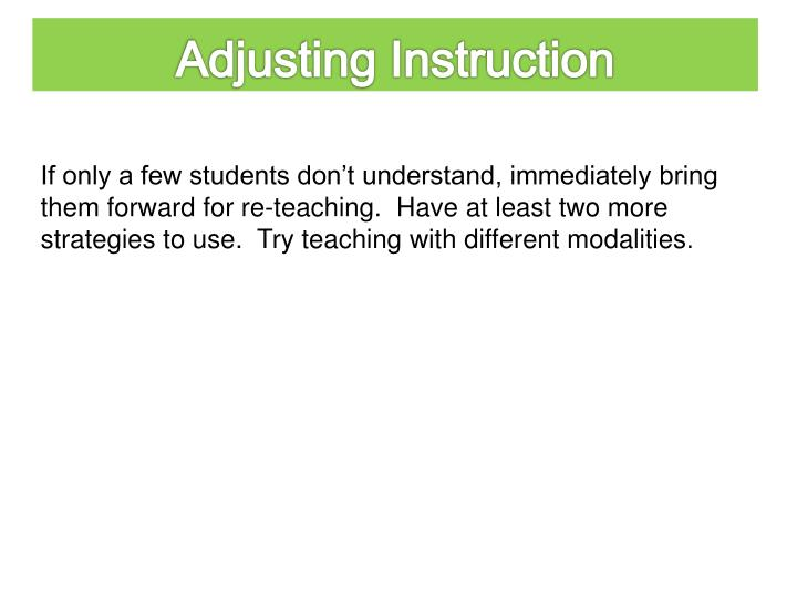 Adjusting Instruction