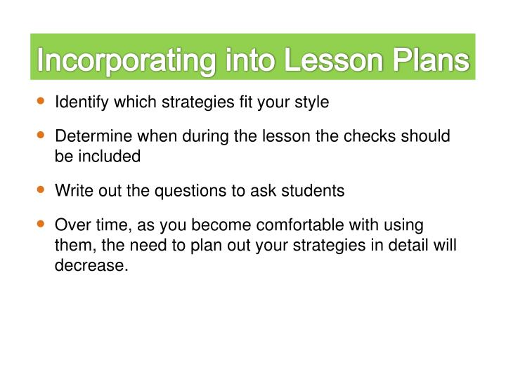 Incorporating into Lesson Plans