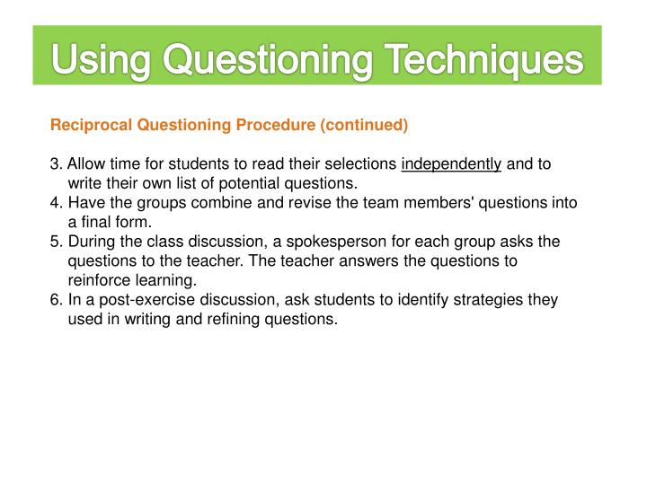 Using Questioning Techniques
