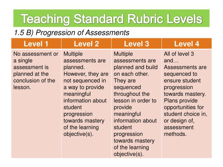 Teaching Standard Rubric Levels