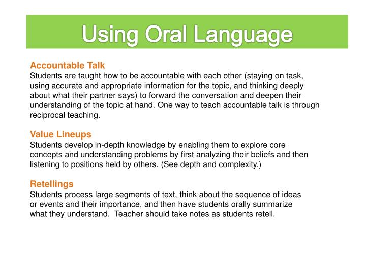 Using Oral Language