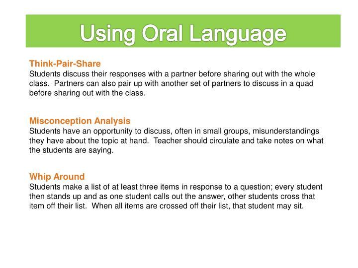 Using Oral Language