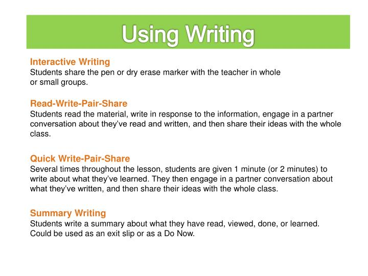 Using Writing