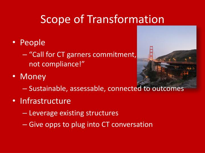 Scope of Transformation
