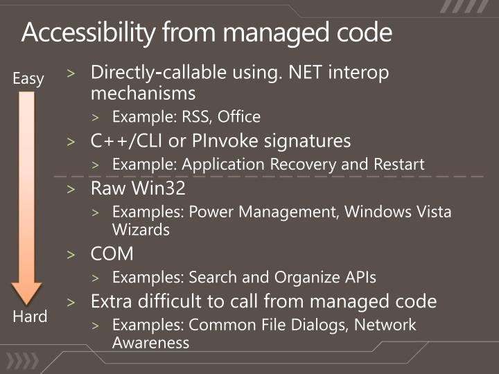 Accessibility from managed code