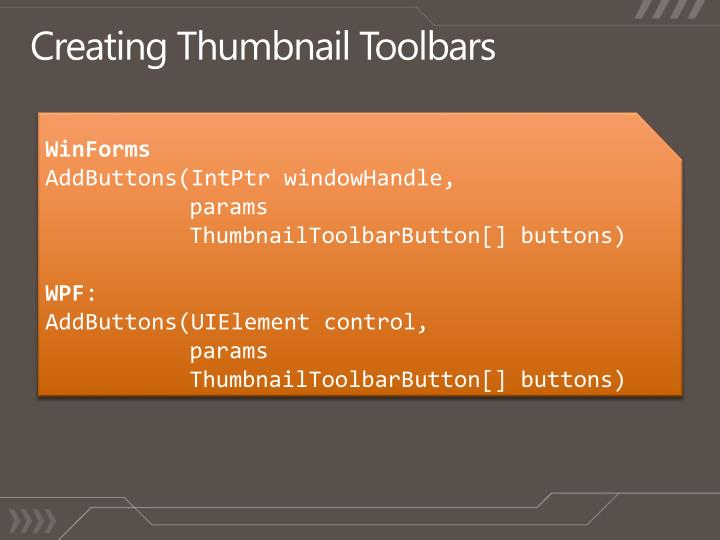 Creating Thumbnail Toolbars