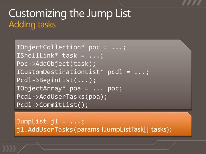 Customizing the Jump List