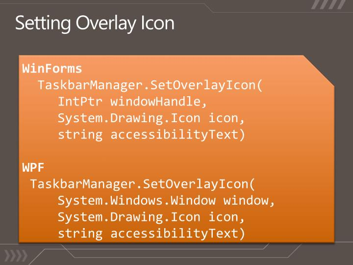 Setting Overlay Icon