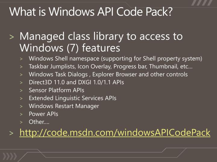 What is Windows API Code Pack?