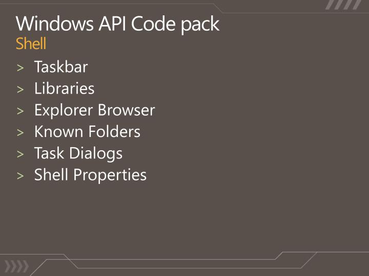 Windows API Code pack