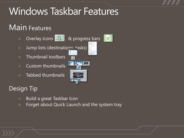 Windows Taskbar Features