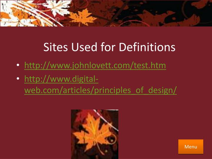 Sites Used for Definitions