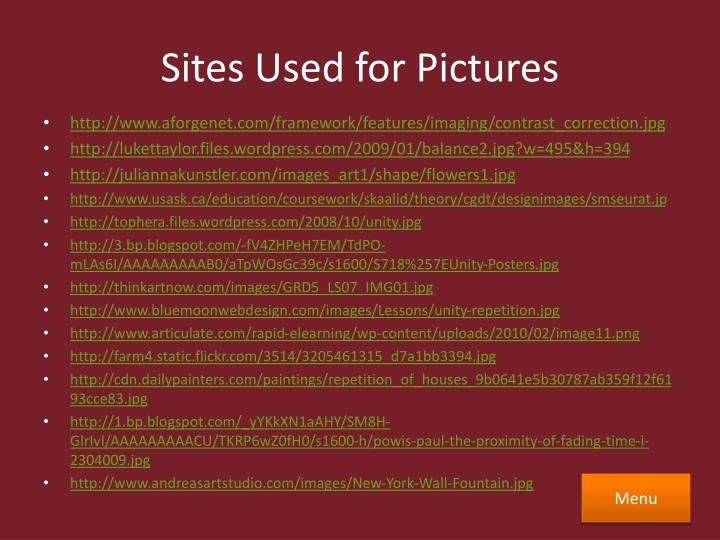 Sites Used for Pictures
