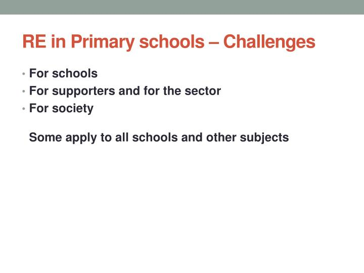 RE in Primary schools – Challenges
