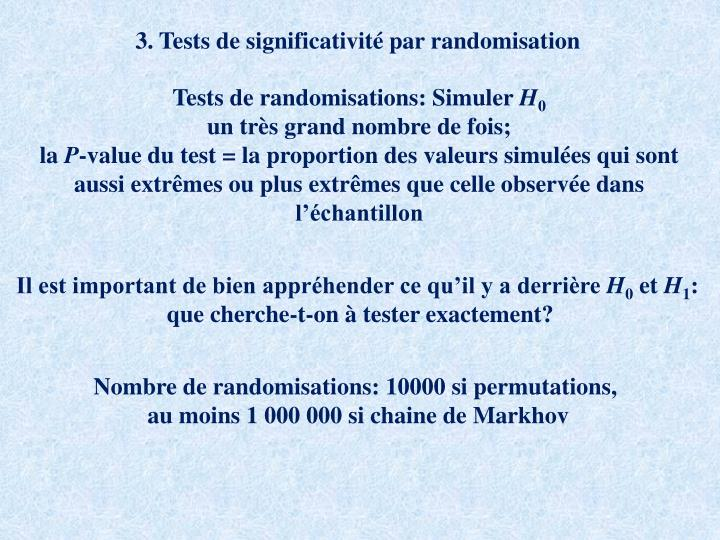 3. Tests de significativité par randomisation
