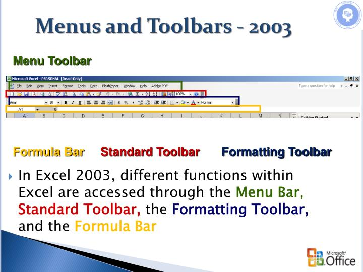 Menus and Toolbars - 2003