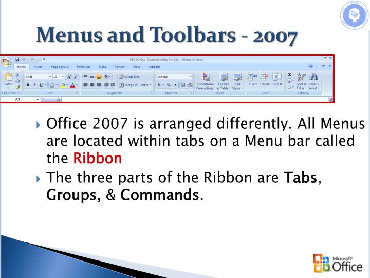 Menus and Toolbars - 2007