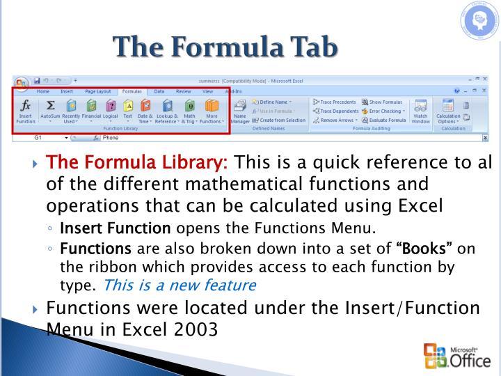 The Formula Tab