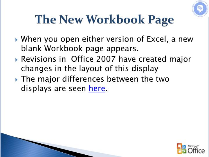 The new workbook page