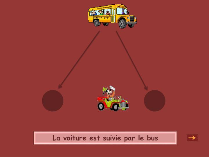 La voiture est suivie par le bus