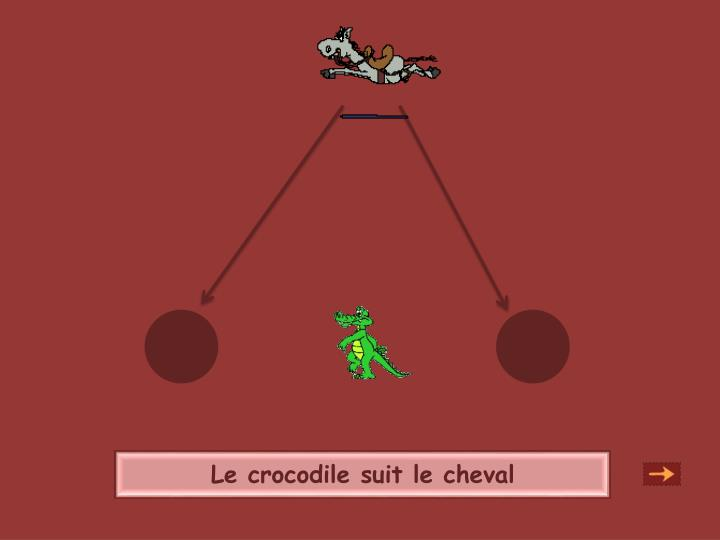Le crocodile suit le cheval