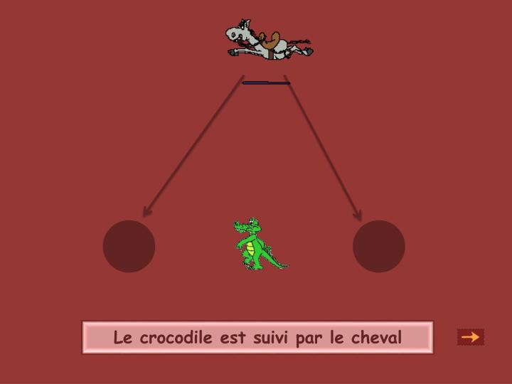 Le crocodile est suivi par le cheval