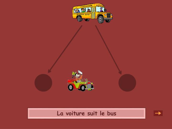 La voiture suit le bus