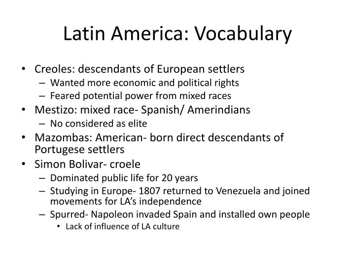 Latin America: Vocabulary