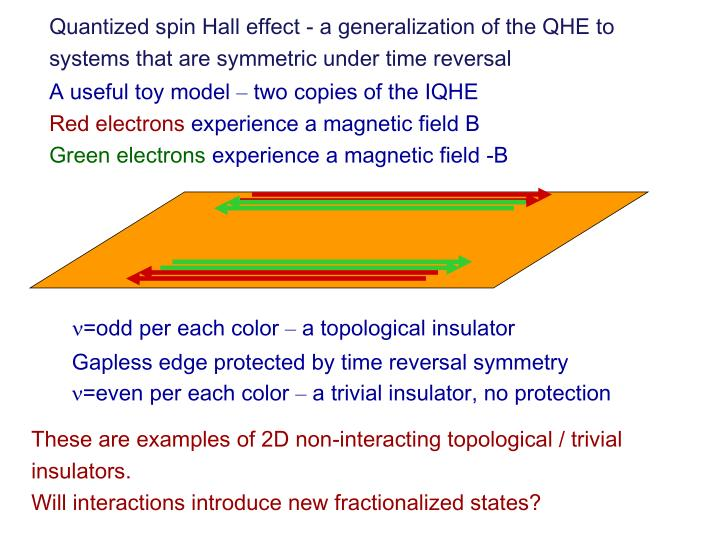Quantized spin Hall effect - a generalization of the QHE to systems that are symmetric under time reversal