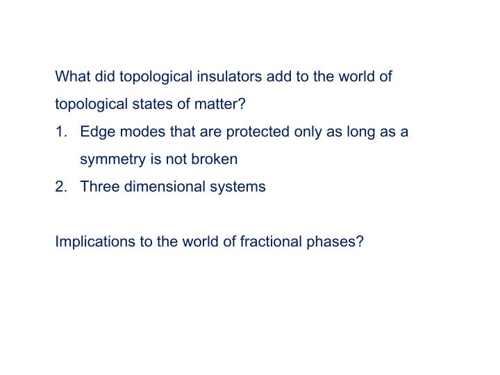What did topological insulators add to the world of topological states of matter?