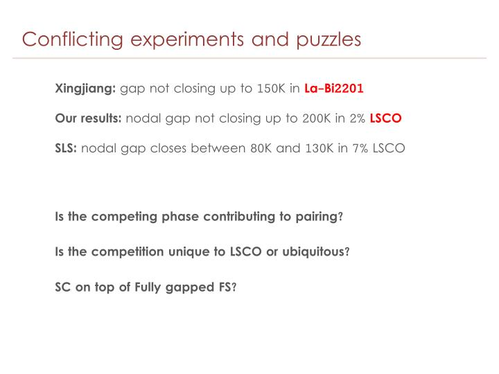 Conflicting experiments and puzzles