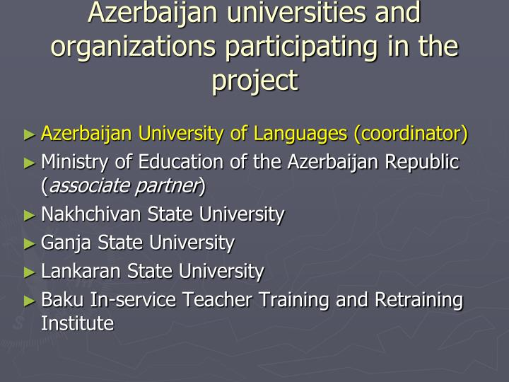 Azerbaijan universities and organizations participating in the project