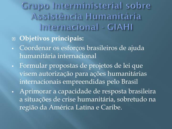 Grupo Interministerial sobre Assistência Humanitária Internacional - GIAHI