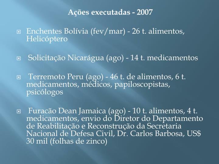 Ações executadas - 2007