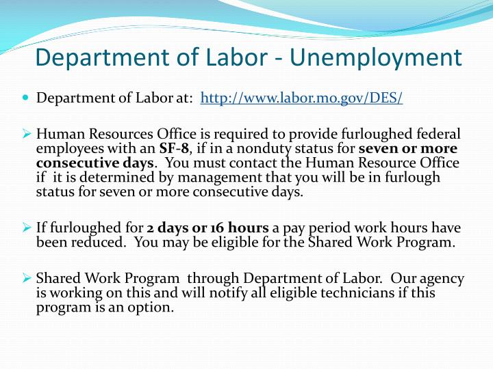 Department of Labor at: