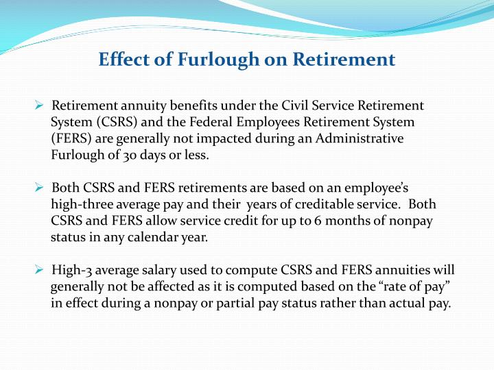 Effect of Furlough on Retirement