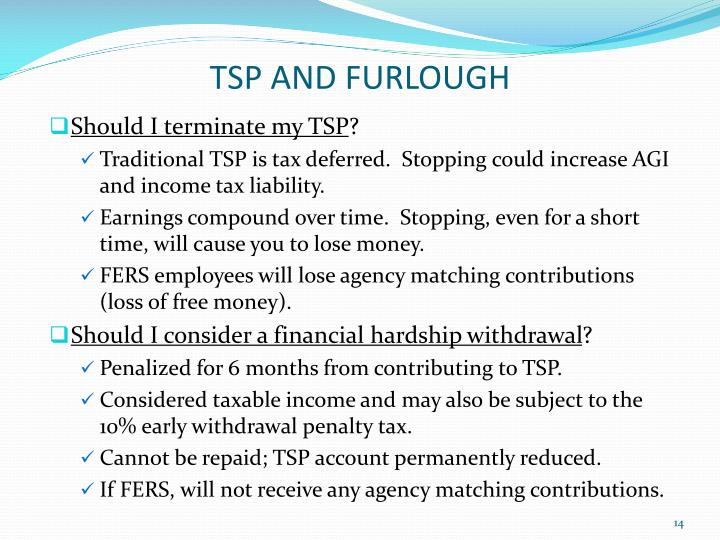 TSP AND FURLOUGH
