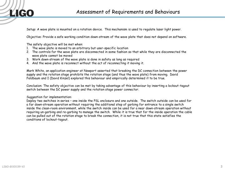 Assessment of Requirements and Behaviours